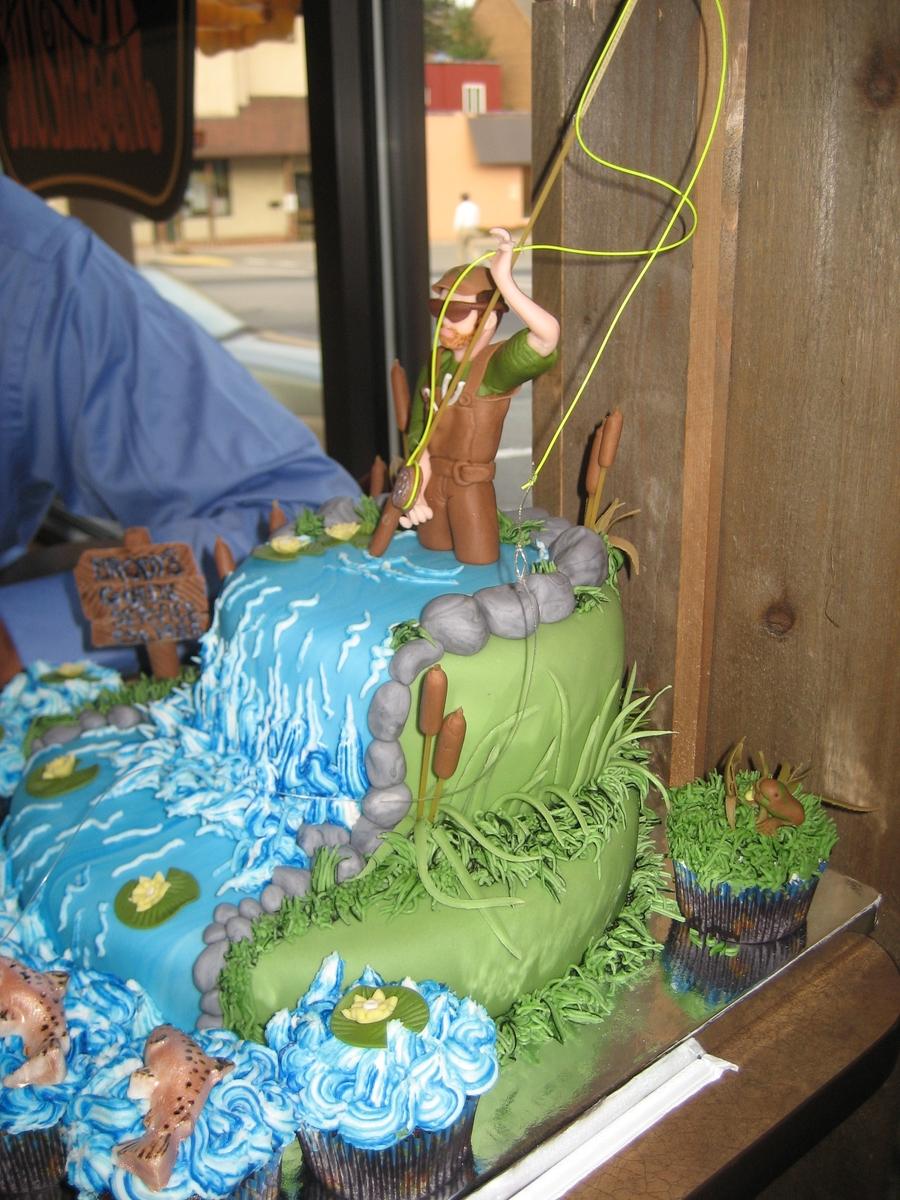 Fly fishing birthday cake for Fishing cake decorations