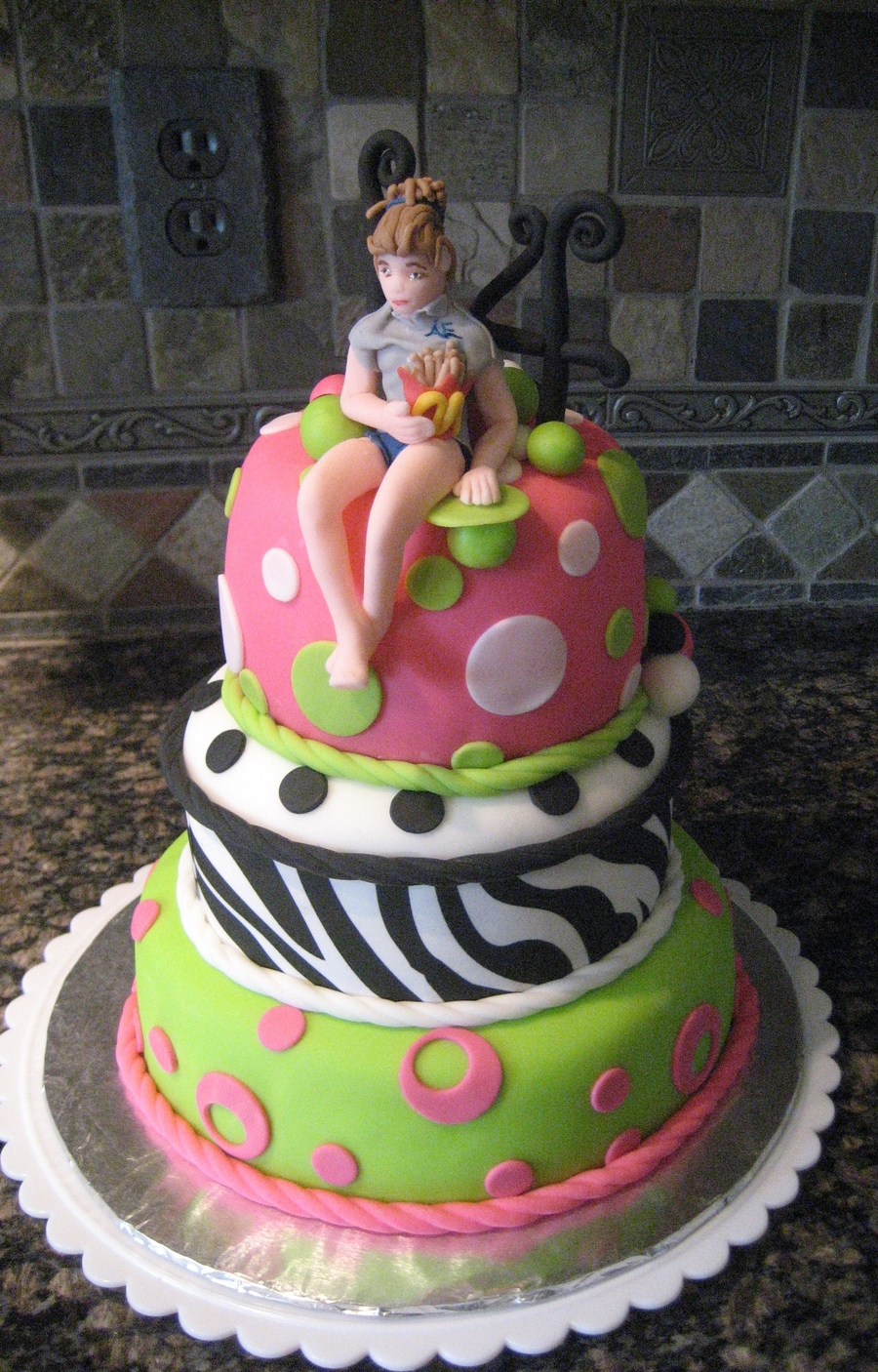 Lime Green Pink Polka Dot Zebra Stripe Birthday Cake With 14 Year Old Girl Sitting On Top In Her Favorite Summer Outfit Eating French Fries