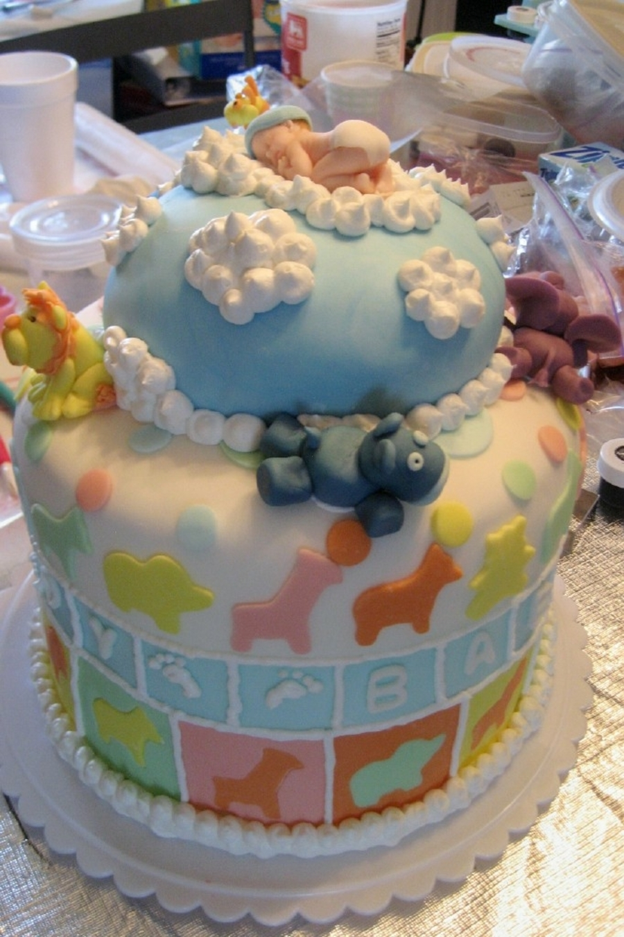 Baby Boy Baby Shower Cake With Animals Cakecentral Com