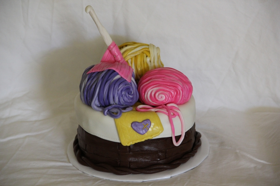 Basket Of Yarn on Cake Central