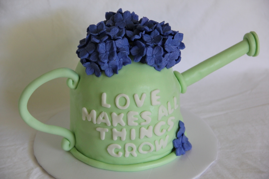 Hydrangea Watering Can on Cake Central