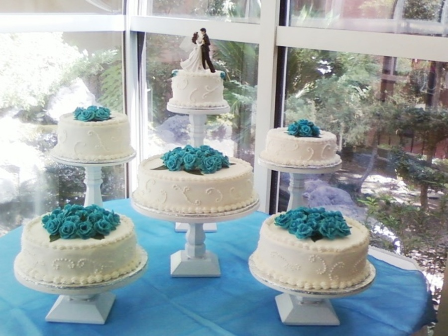 Blue Theme Wedding Cake Cakecentral