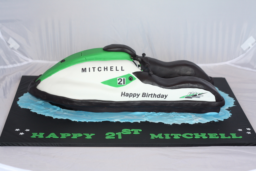 3D Carved Mudcake Ganache Jetski 2 Foot Long All Edible Except For 2 Toothpicks In The Handle Mechanism on Cake Central