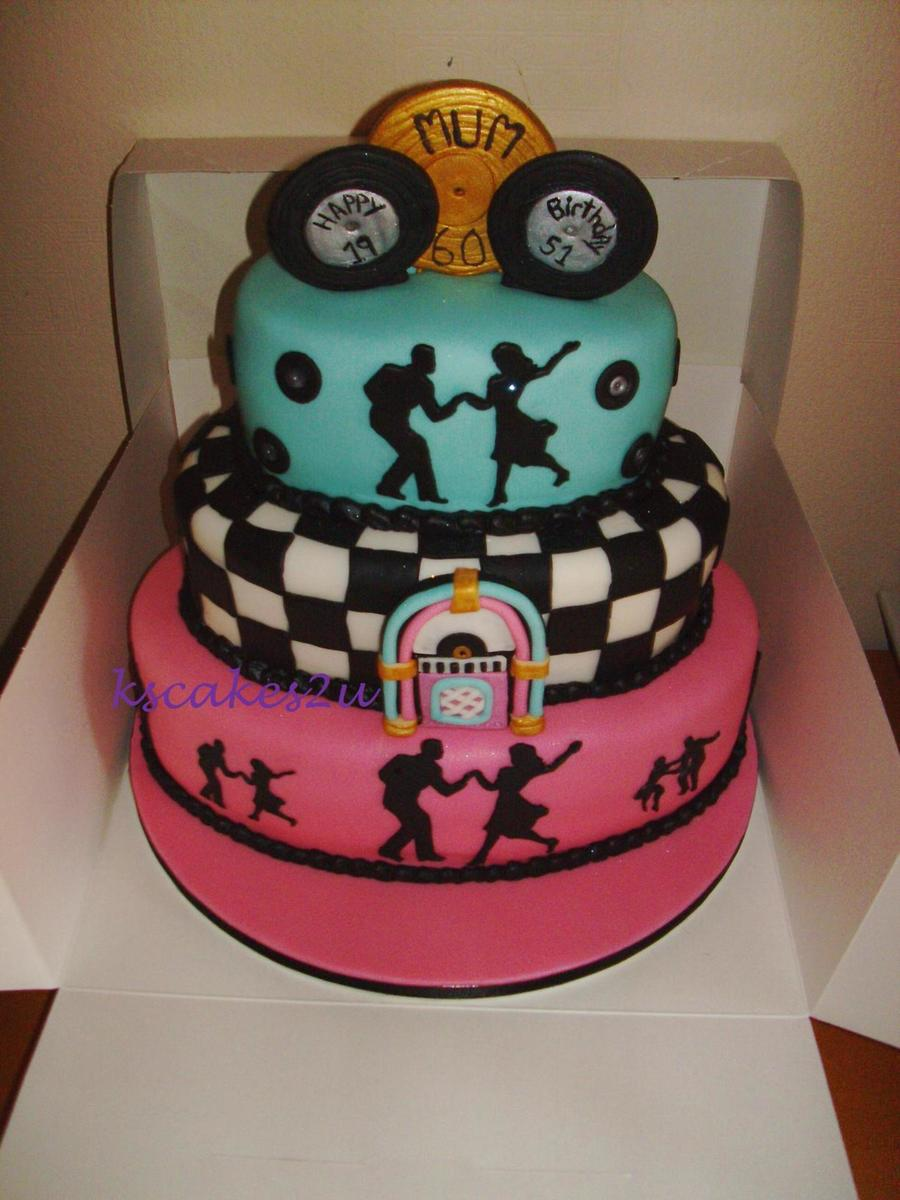 1950s Theme 3 Tier Oval Birthday Cake Cakecentral