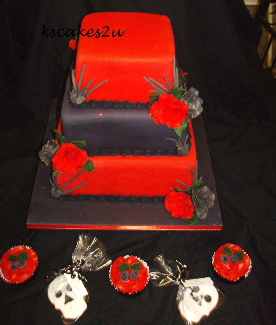 3 Tier Red U0026 Black Wedding Cake. Matching Cupcakes And Skull Cookie Favours