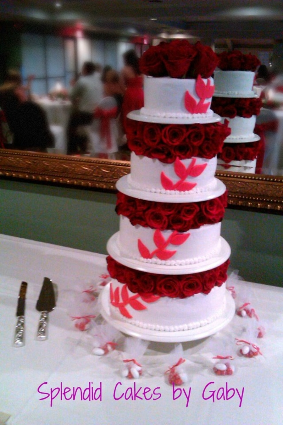 Red Vine With Red Roses Wedding Cake on Cake Central