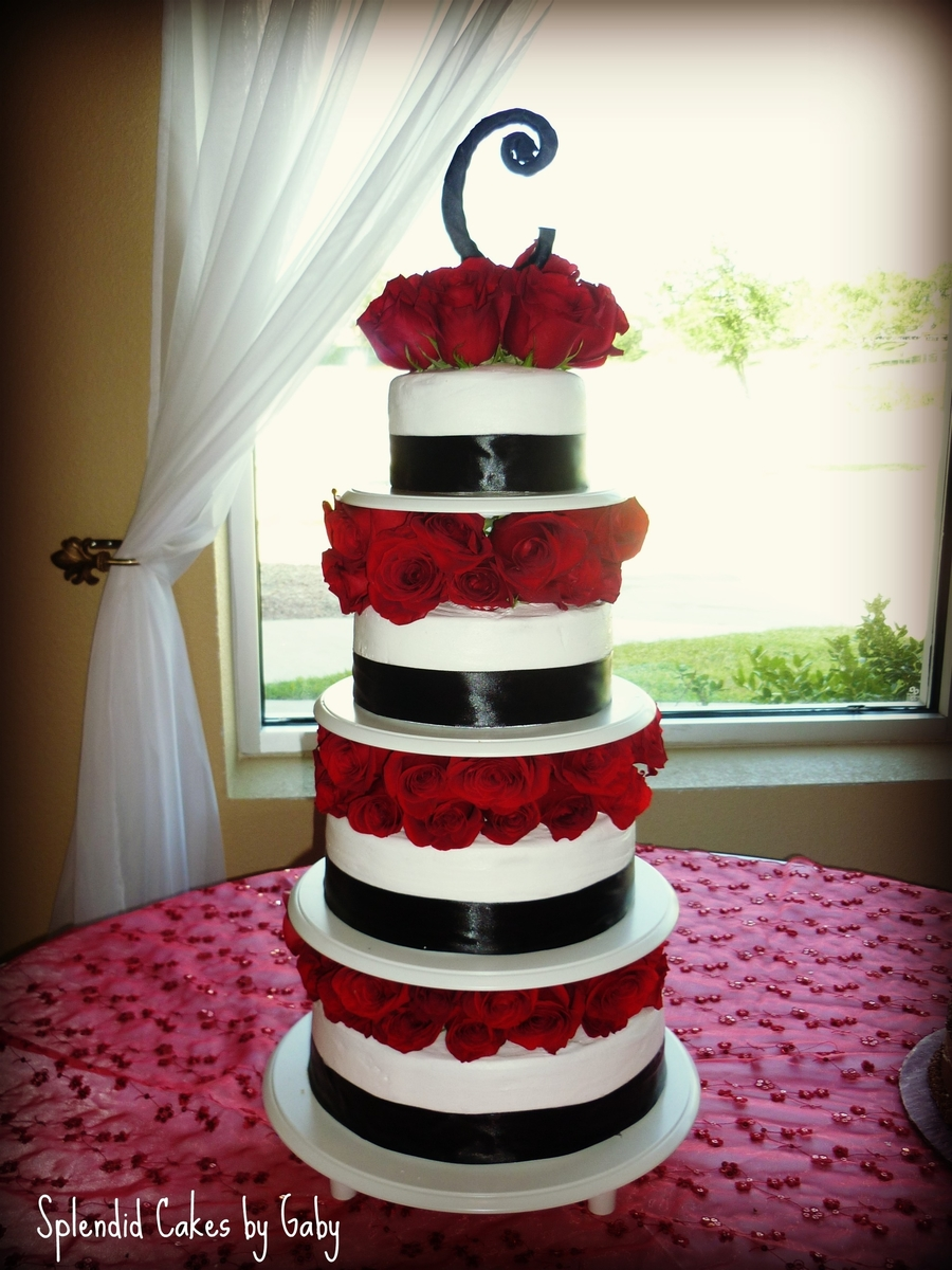 Black And Red Roses Wedding Cake on Cake Central