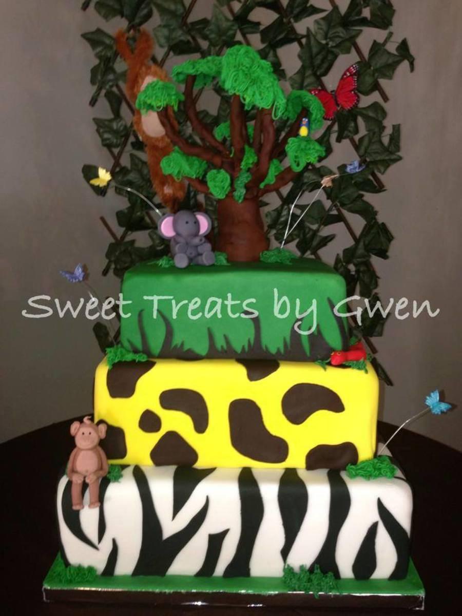 Jungle Theme Birthday Cake 14 Square Bottom Tier Is Chocolate Cake