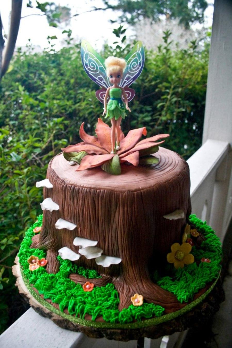 Tinkerbell On A Tree Stump Chocolate Cake With Vanilla