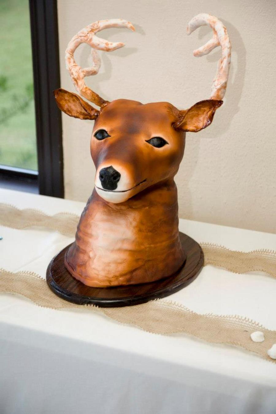 Mounted Deer Head Grooms Cake Base Of The Cake Is Red Velvet And Head Is Rice Cereal Treats Covered In Mmf Ears And Antlers Are Gumpast on Cake Central