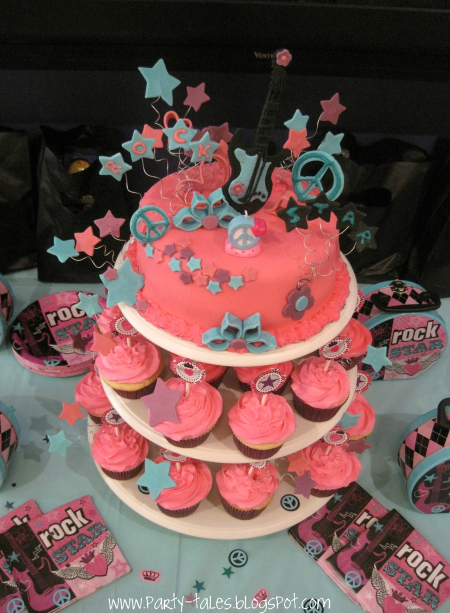 Rock Star Princess Girl 7Th Birthday Party Cake And Cupcakes