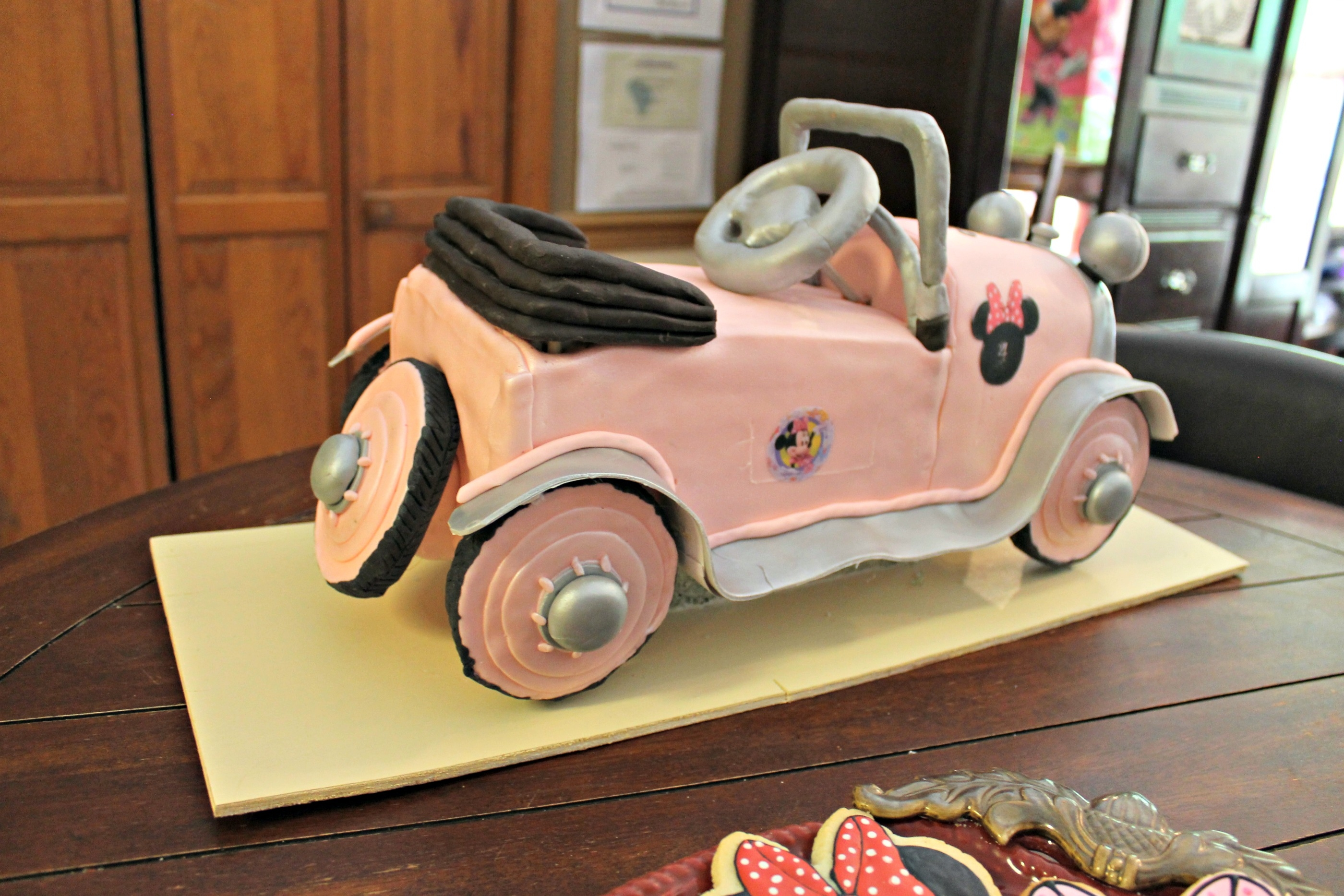 Minnie Mouse Pedal Car Birthday Cake CakeCentralcom