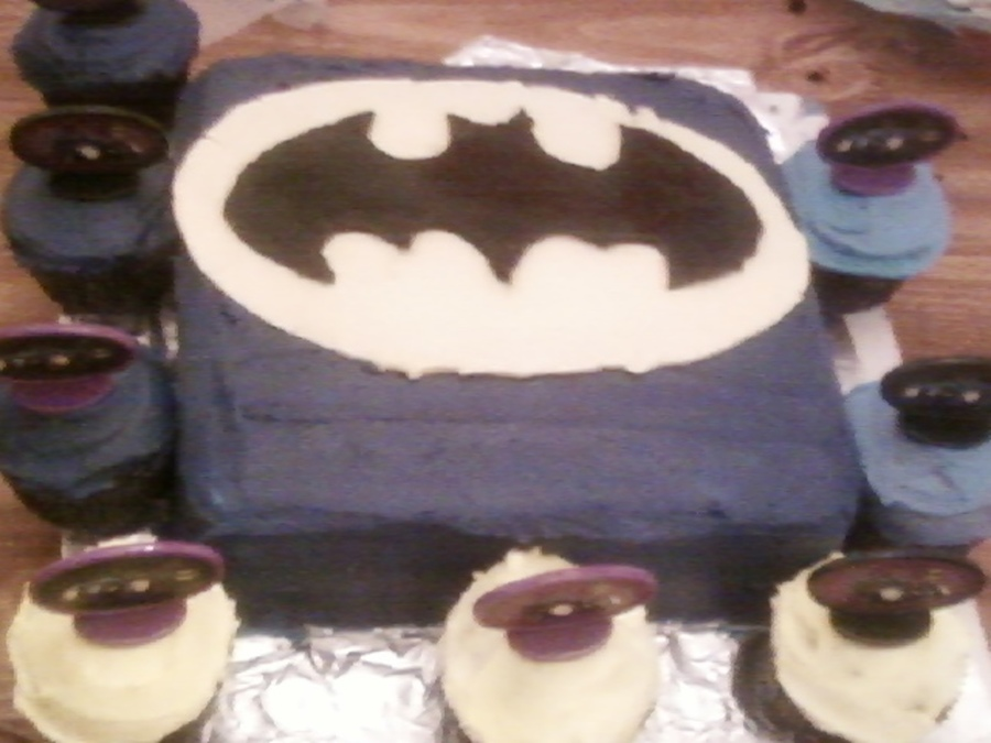 Batman Cake With Cupcakes  on Cake Central