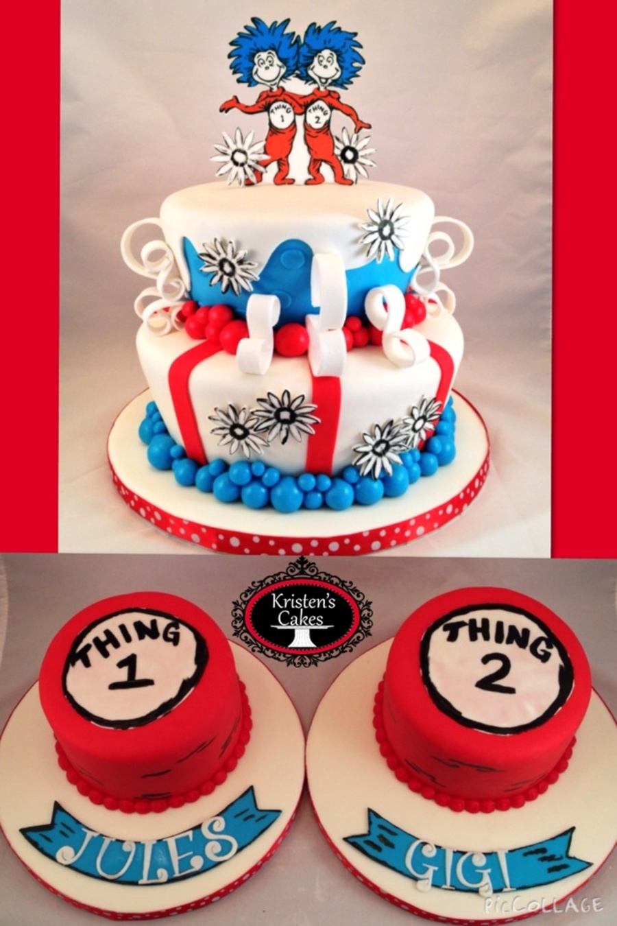 Drseuss Thing 1and Thing 2 Cake And Smash Cakes For Twins First