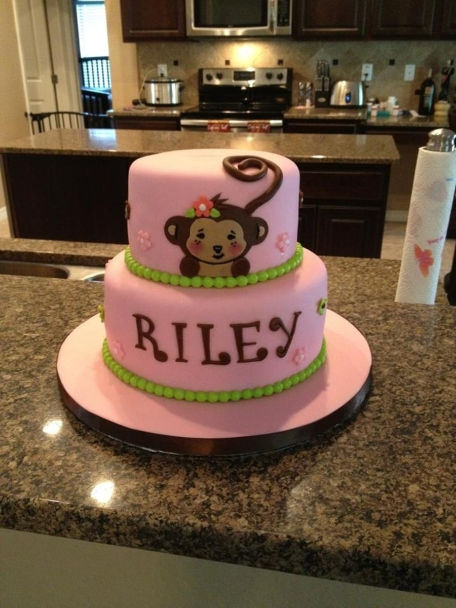 Pink Riley Monkey  on Cake Central