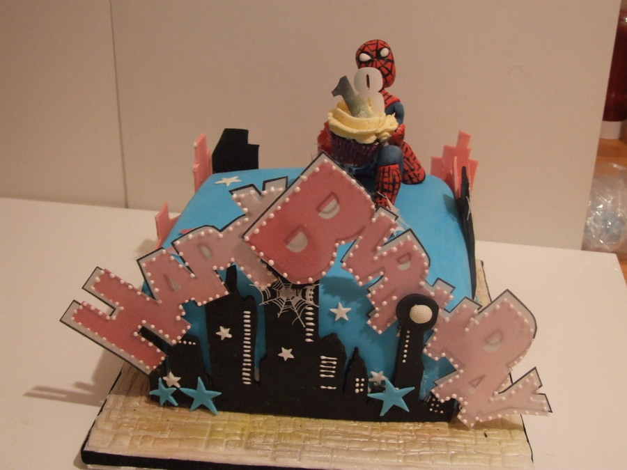Spider Man Cake Chocolate With Vanilla Cream And Covered In Fondat One Happy Eighteen Year Old Lady on Cake Central