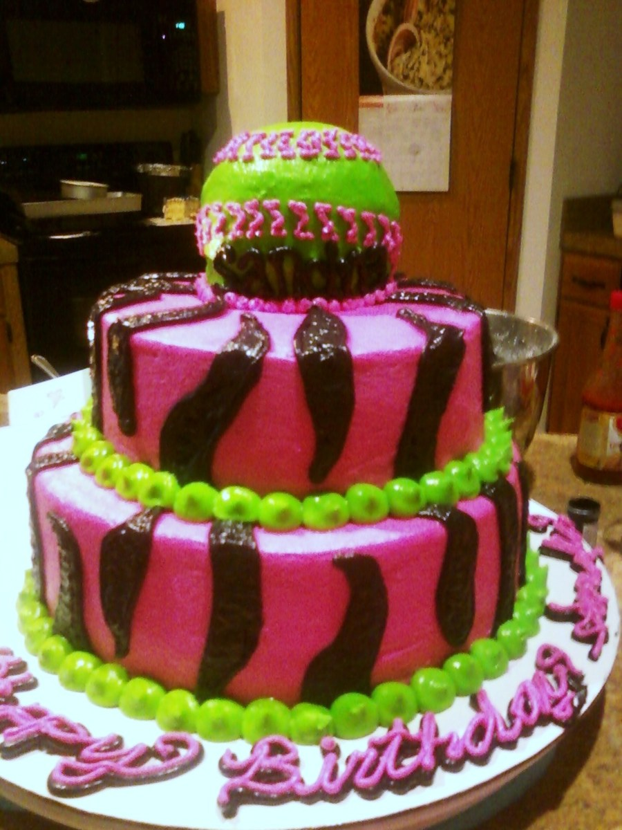 Girls Softball Cake Zebra Cakecentral Com