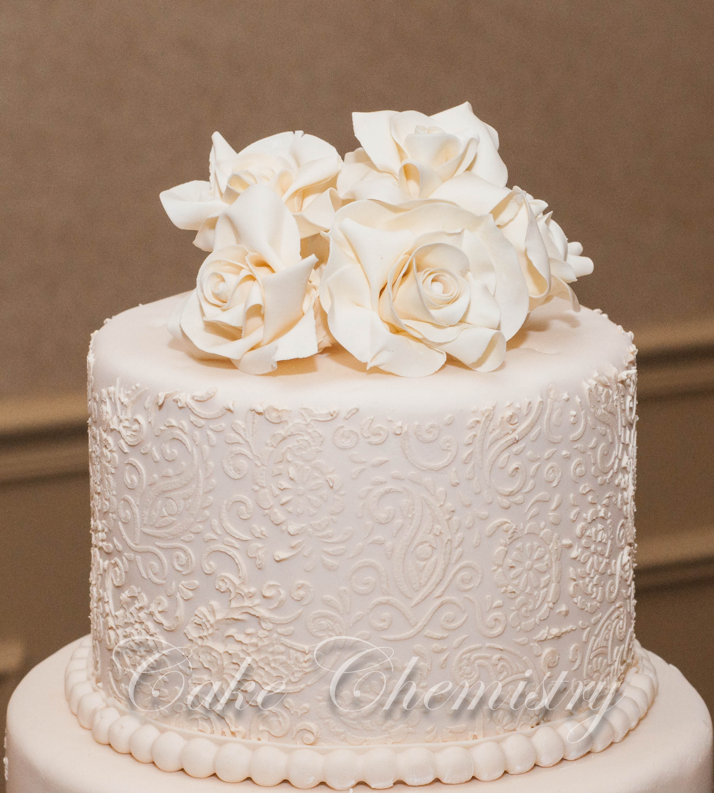 5 Tier Ivory Paisley Wedding Cake CakeCentral