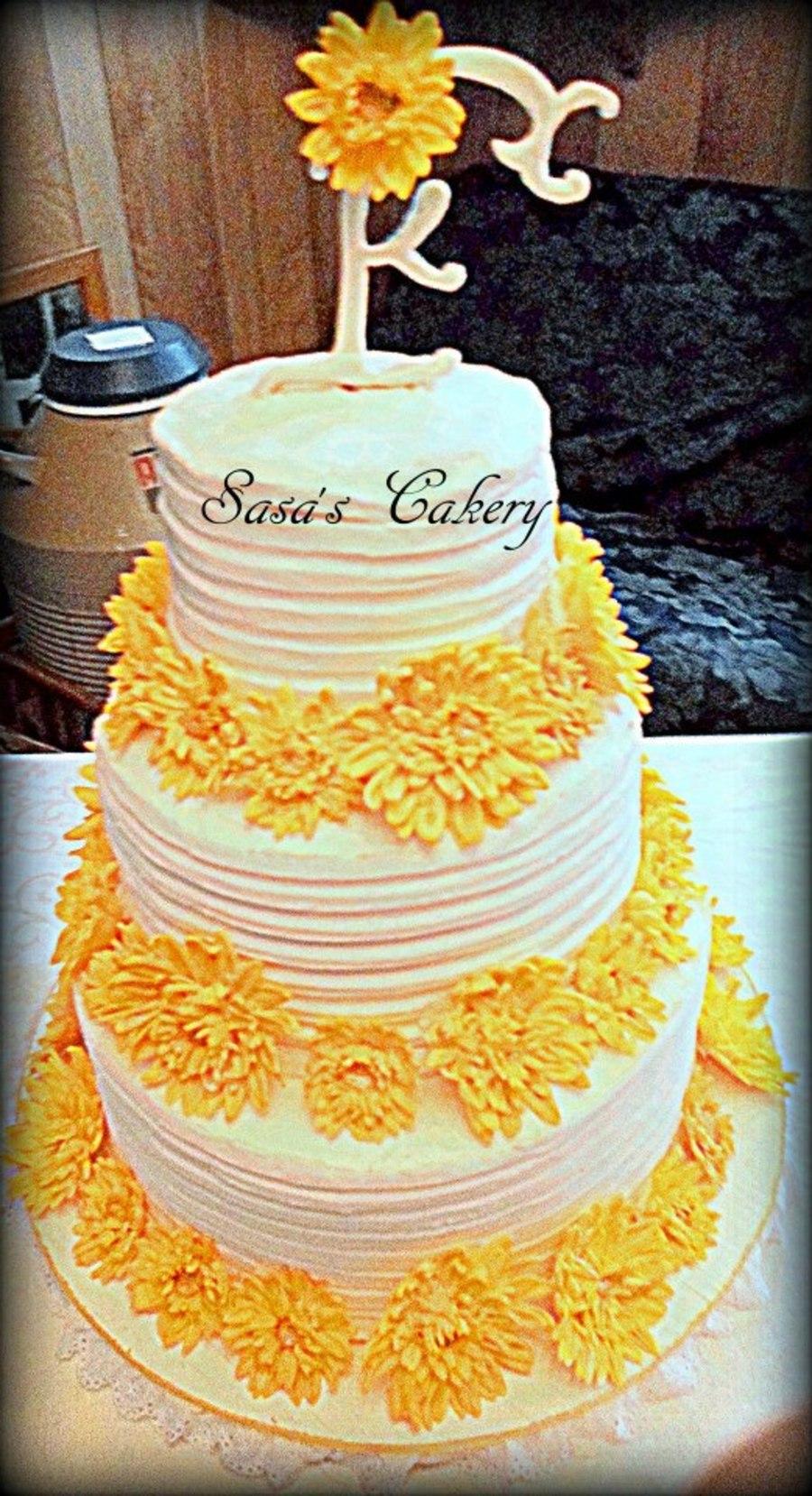 Yellow Daisy Buttercream Wedding Cake With Fondant Monogram Topper ...
