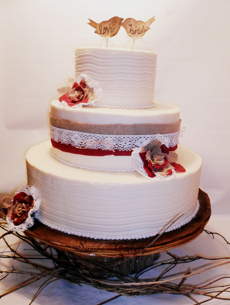 3 Tier Butter Cream Wedding Cake With Burlaplace Ribbon