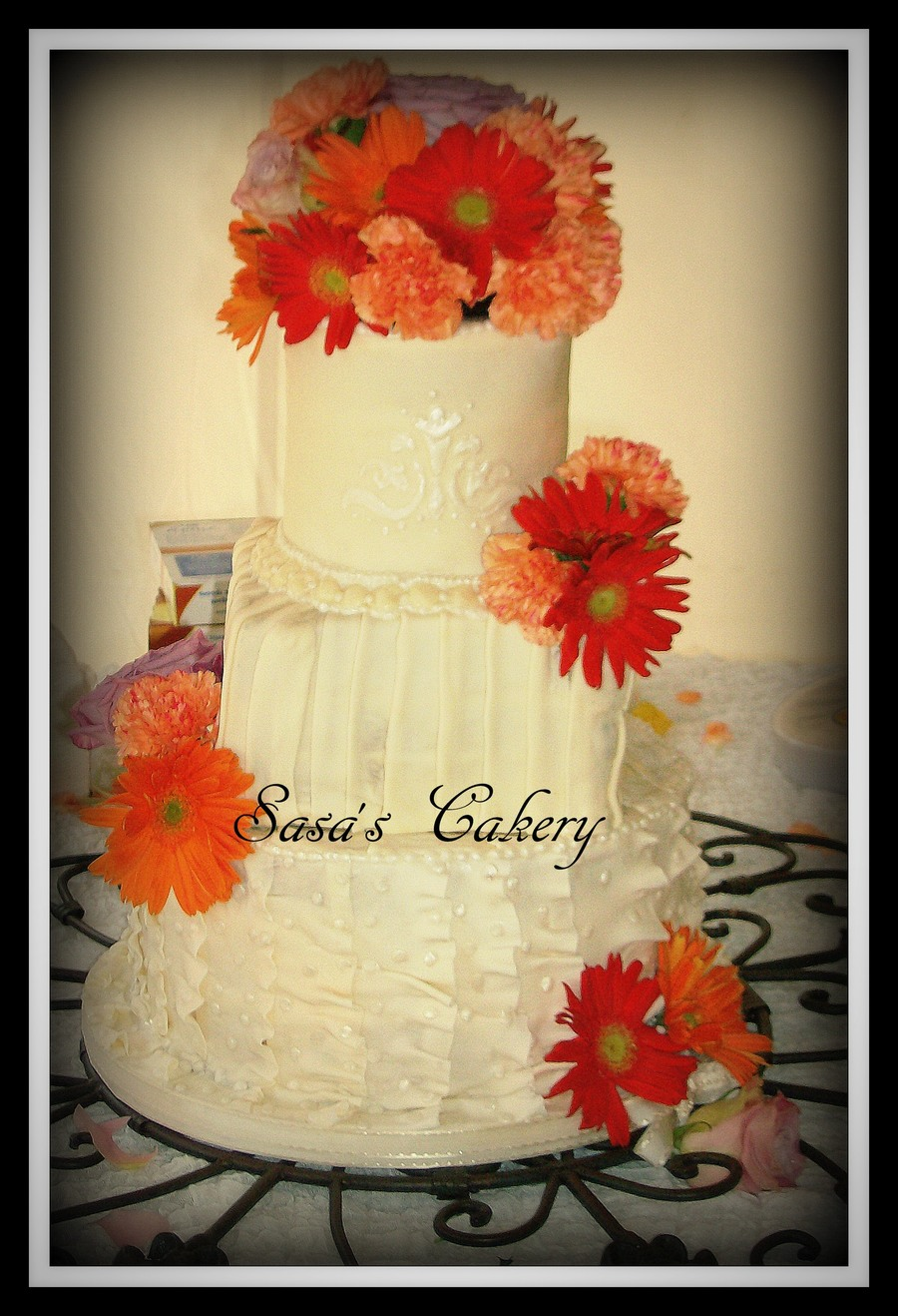 Fondant Wedding Cake With Real Flowers on Cake Central