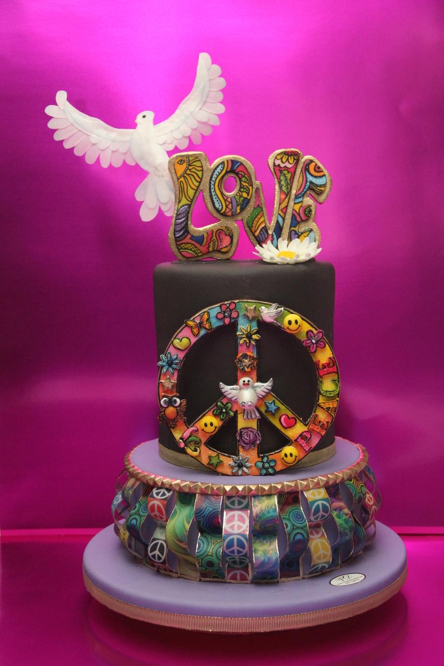Retro Birthday Cake Word Love And Peace Symbol Made Of ...