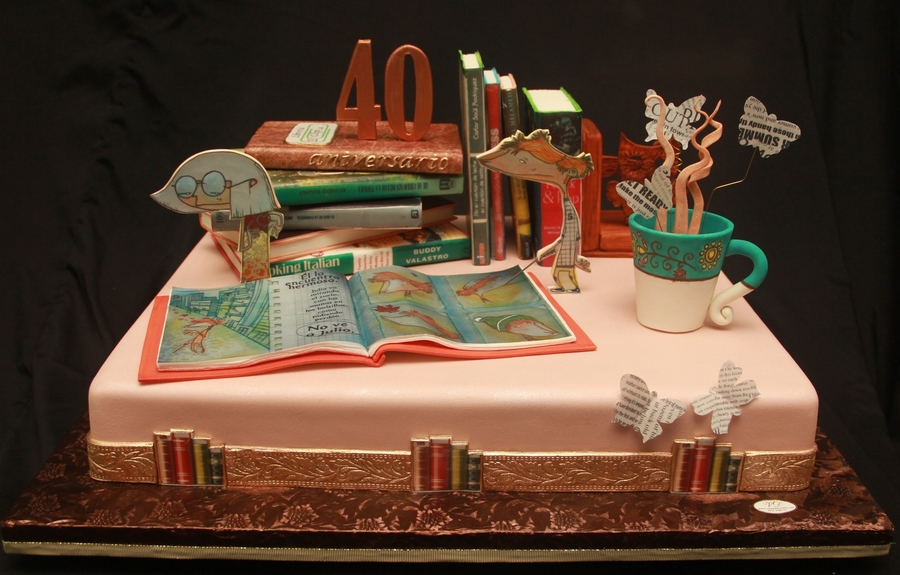 Cake Made For The 40Th Anniversary Of A Library All The Elements Are Edible Made With Pastillage Paste Gumpaste And Rice Paper Designs on Cake Central