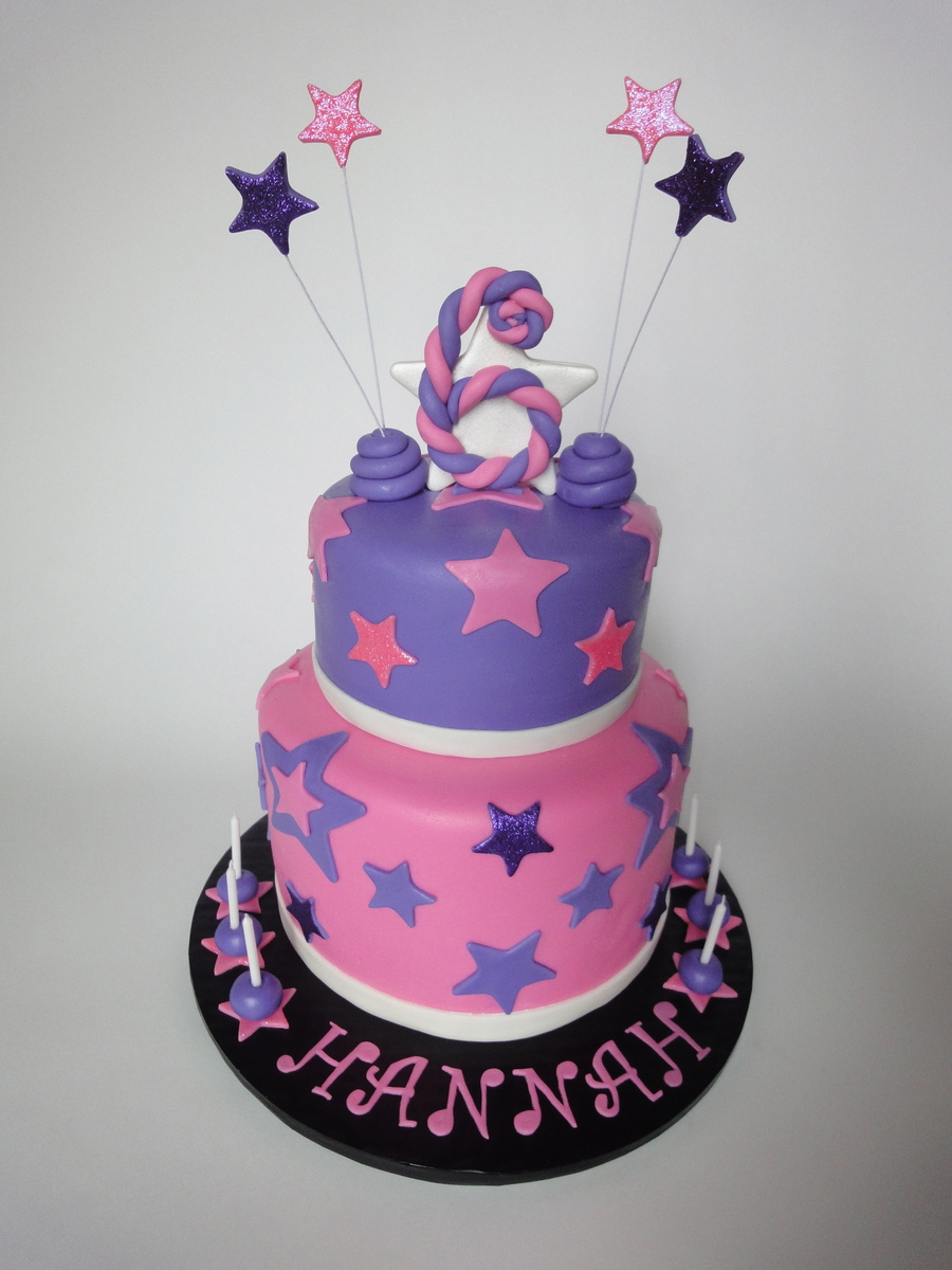 Tiered Pink And Purple Stars Cake on Cake Central