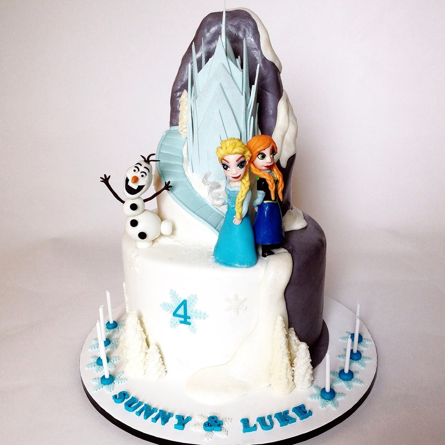 Frozen Birthday Cake With Elsa Anna And Olaf And The Castle Too