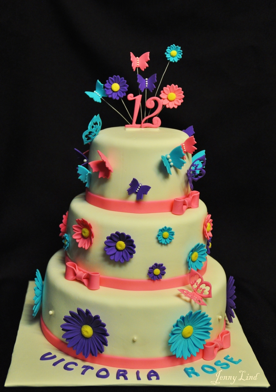 Daisies And Butterflies on Cake Central