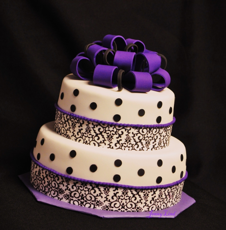 Purple And Black Baby Shower Cake on Cake Central