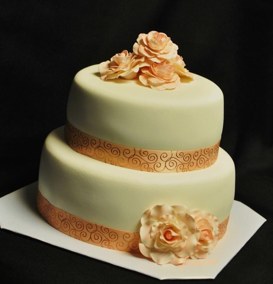 Simple Peach Wedding Cake - CakeCentral.com