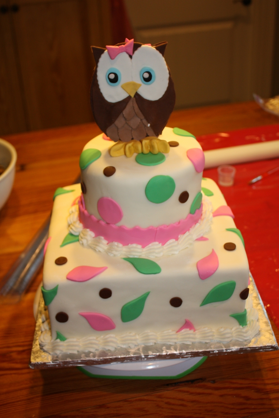 First Birthday Owl Cake on Cake Central