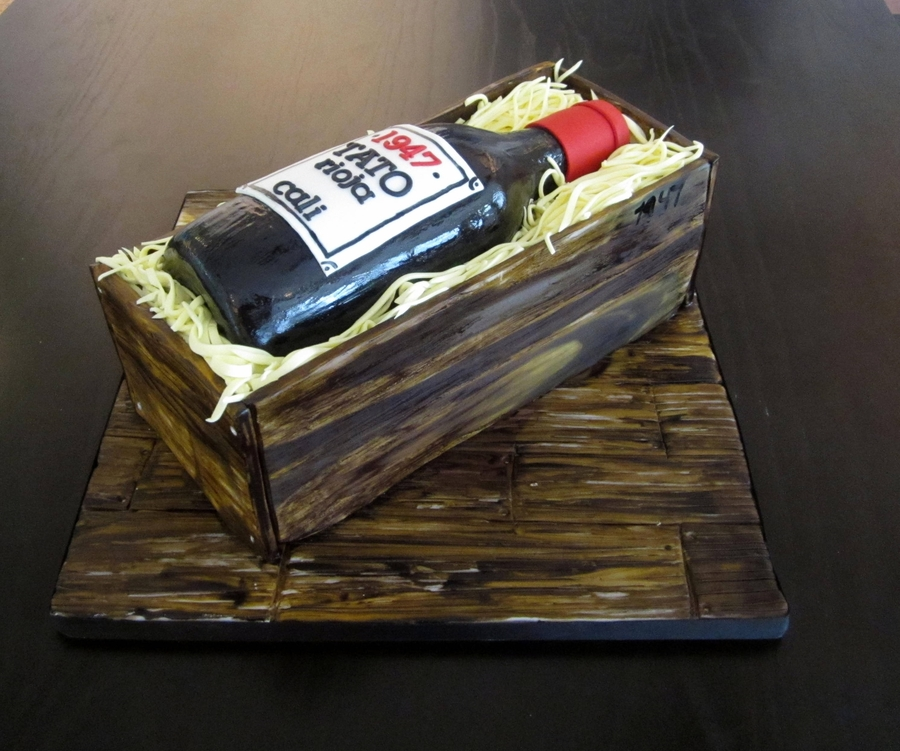 Red Wine Bottle In Crate on Cake Central
