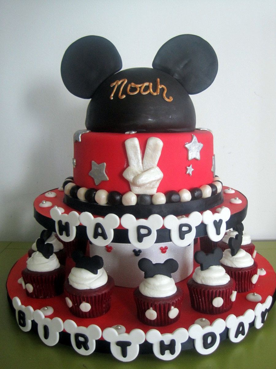 Mickey Cake And Cupcake Tower on Cake Central