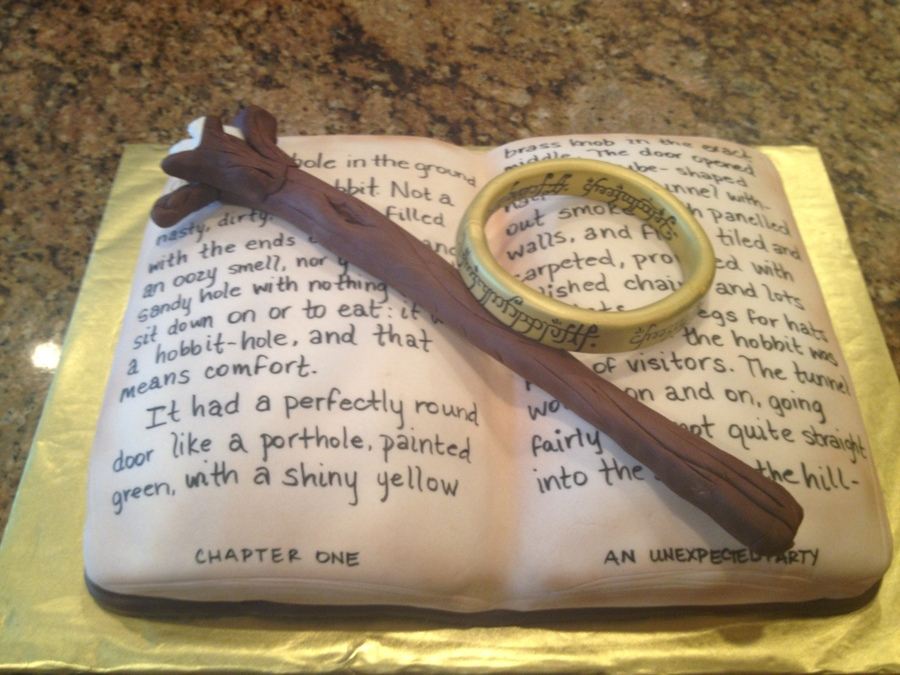 The Hobbit Birthday Cake With Gandalfs Staff And The Ring