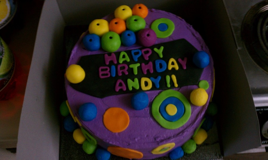 Neon Circles Birthday Cake on Cake Central
