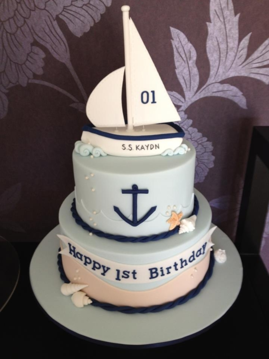 Boat Birthday Cake Images : 1St Birthday Sail Boat Cake - CakeCentral.com