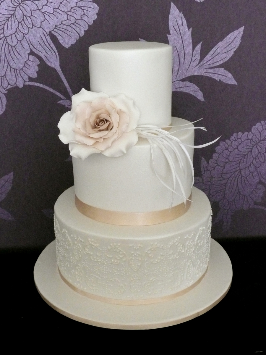 Double Stack Wedding Cake With Ivory Rose on Cake Central