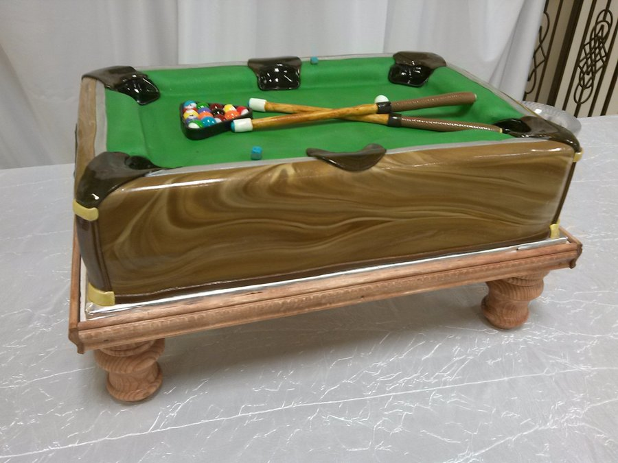 Pool Table Grooms Cake CakeCentralcom - First pool table