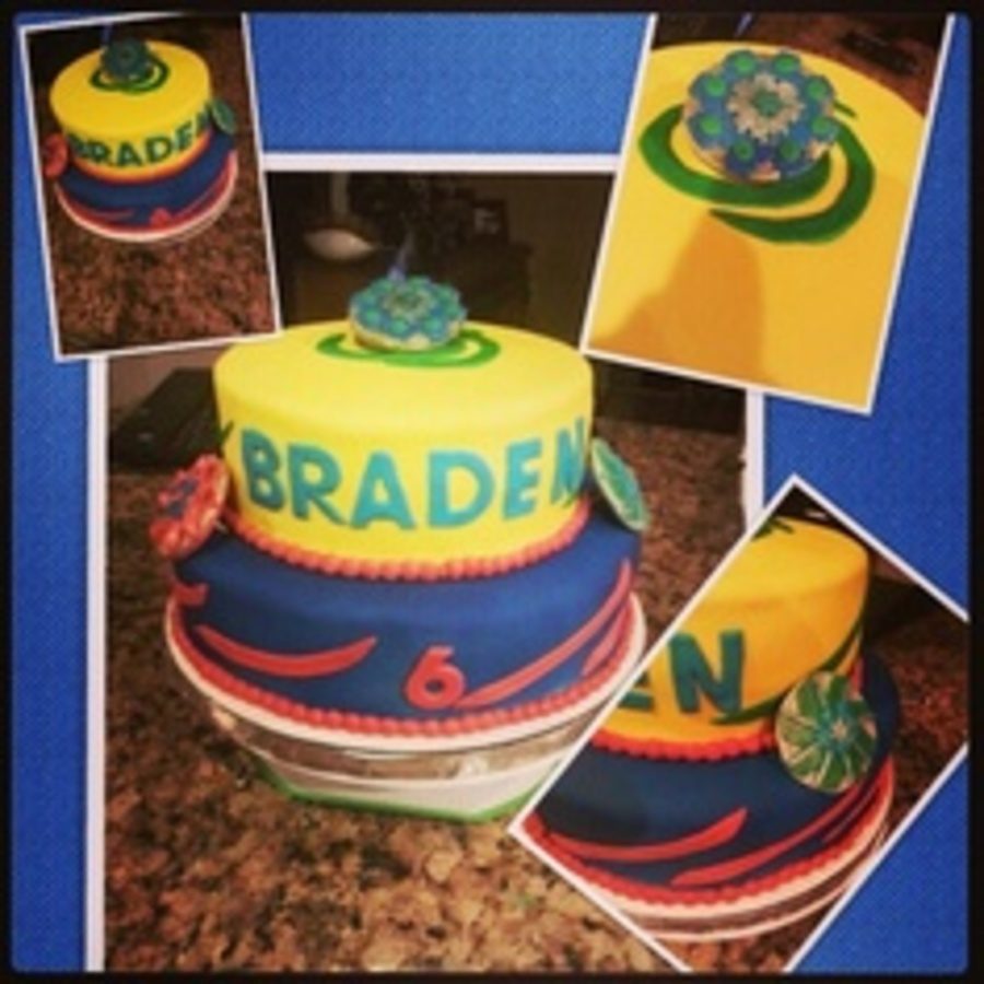 Beyblade Themed Birthday Cake All Fondant Covered And