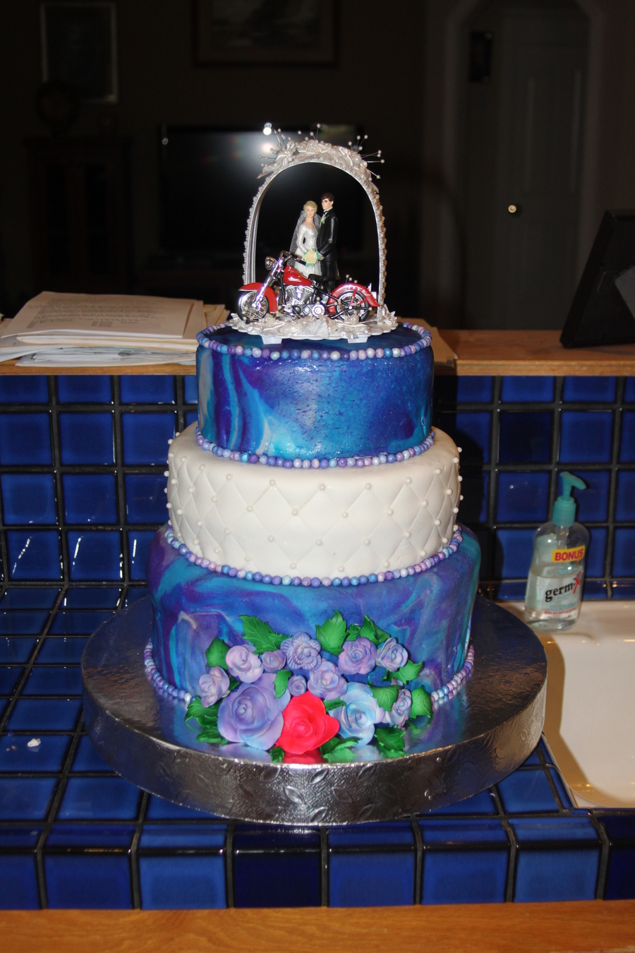 Tied Dyed Wedding Cake And Don't Forget The Harley on Cake Central