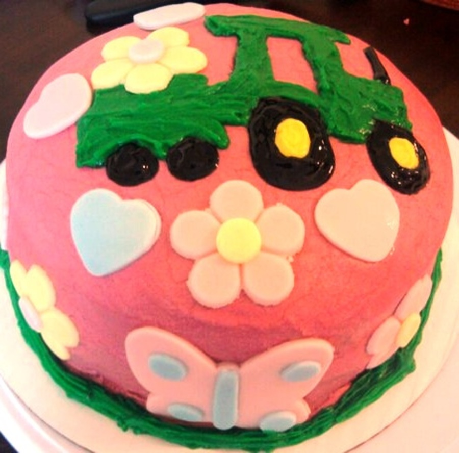 Girly Tractor Birthday Cake On Central