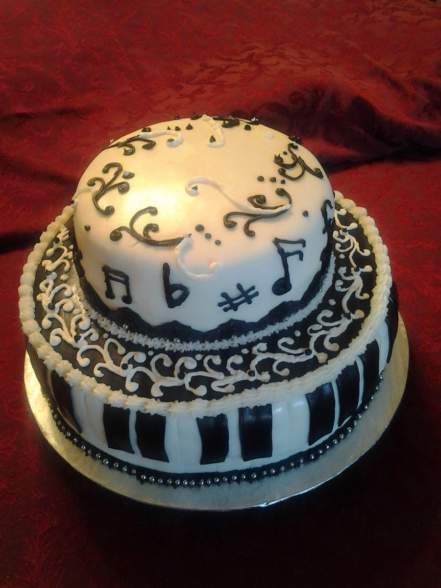 Musical Cake In Black And White on Cake Central