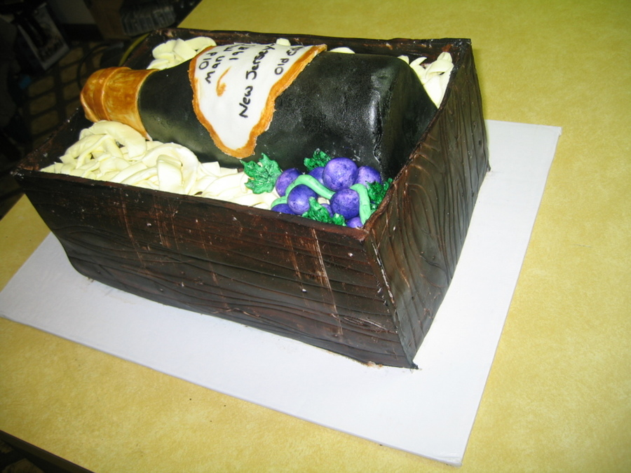 Birthday Wine And Crate Cake on Cake Central