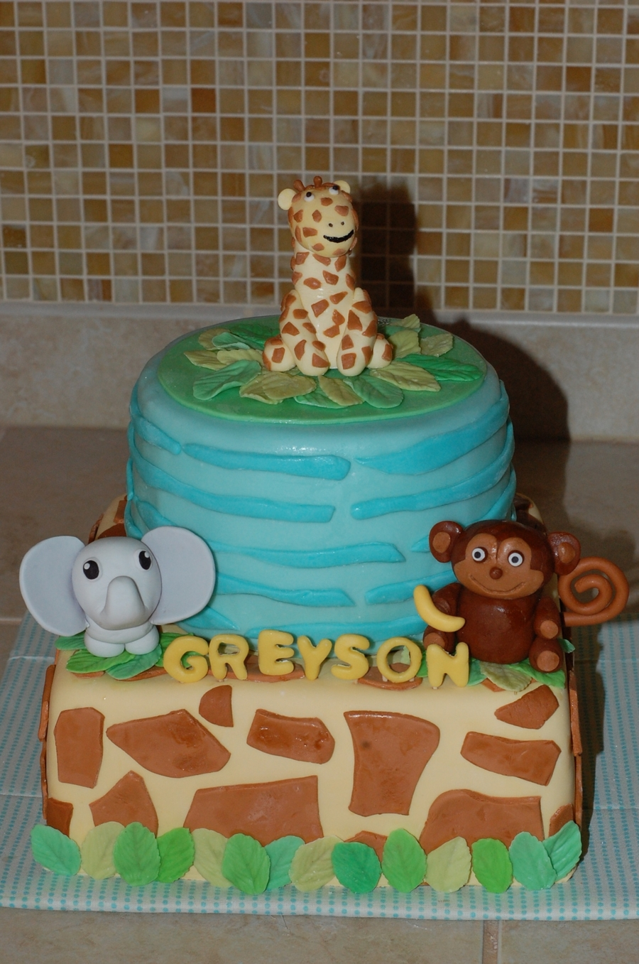 Jungle Animal Baby Shower  on Cake Central