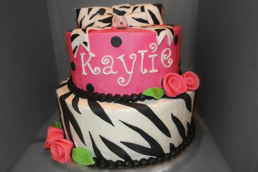 Zebra & Hot Pink Girly Cake on Cake Central