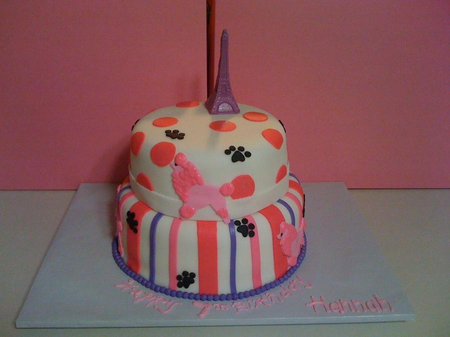 Brilliant Pink Poodle In Paris Birthday Cake Cakecentral Com Funny Birthday Cards Online Aeocydamsfinfo