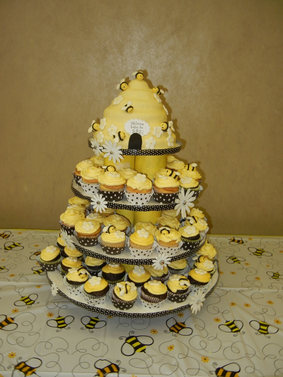 Bee Theme Baby Shower Cake - CakeCentral.com