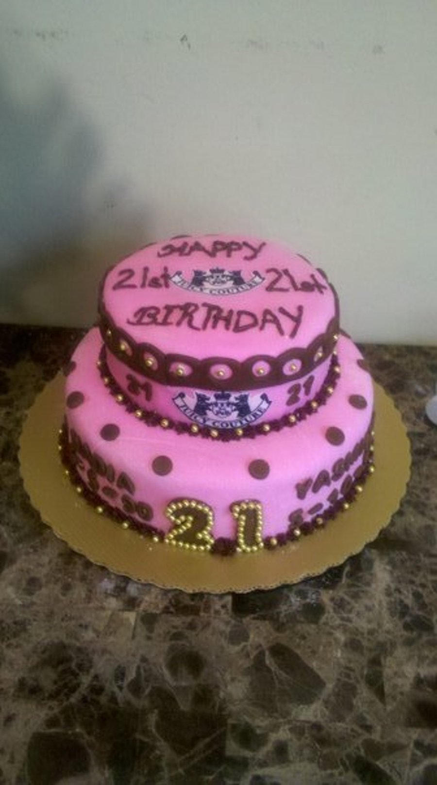Brown And Pink Living Room Decor: Pink And Brown 21St Birthday Cake